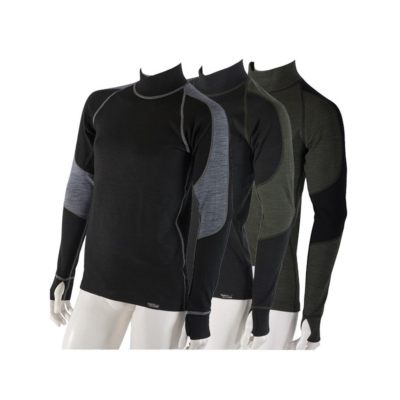Men 39 s thermo shirt long sleeved with merino wool nanobodix for Merino wool shirt long sleeve