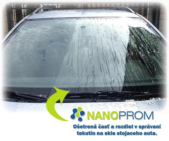 Rozdielne správanie sa vody na čelnom skle auta